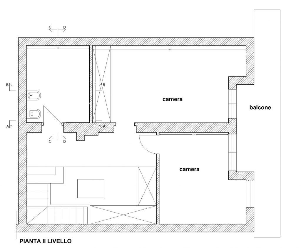 Ristrutturazione Appartamento Roma - Stato di fatto - Pianta II livello