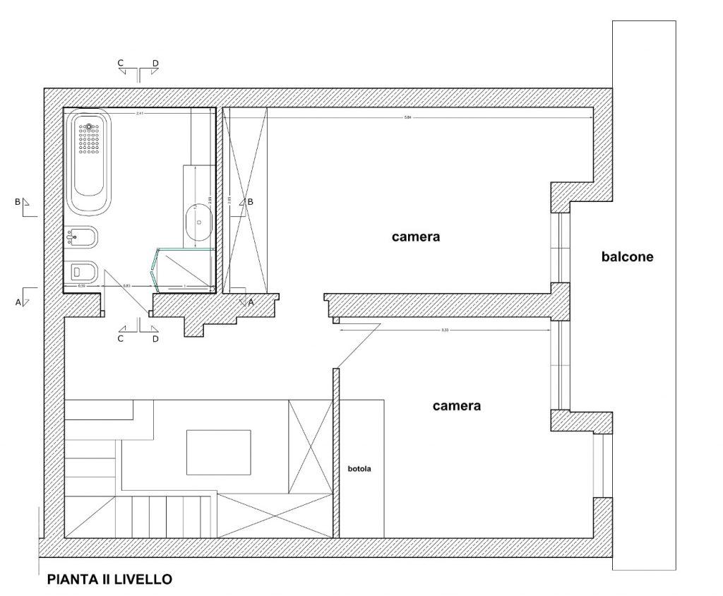 Ristrutturazione Appartamento Roma - Stato di progetto - Pianta II livello
